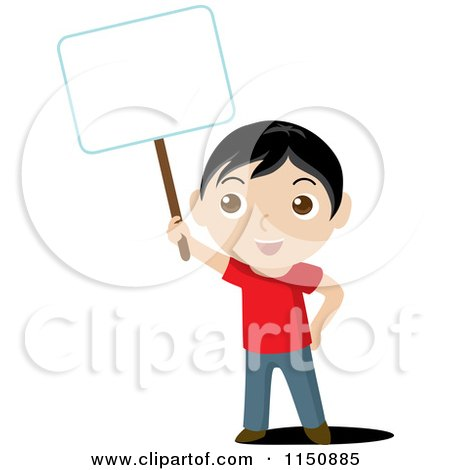 Cartoon of a Boy Holding up a Blank Sign - Royalty Free Vector Clipart by Rosie Piter