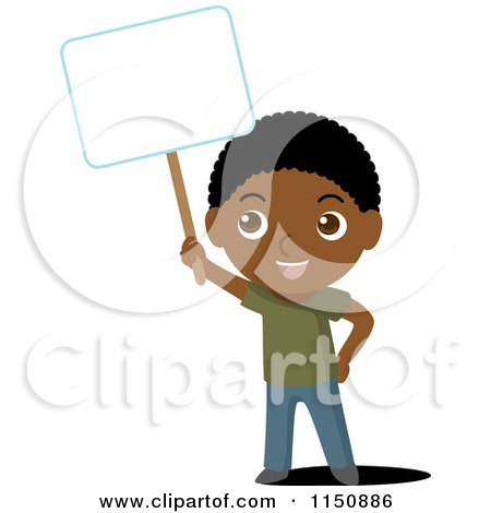 Cartoon of a Black Boy Holding up a Blank Sign - Royalty Free Vector Clipart by Rosie Piter