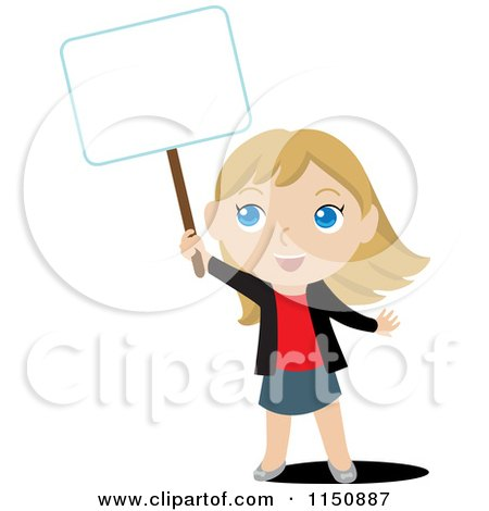 Cartoon of a Blond Girl Holding up a Blank Sign - Royalty Free Vector Clipart by Rosie Piter