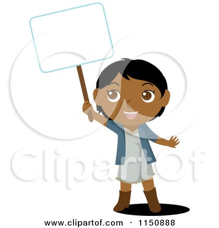 Cartoon of an Indian Girl Holding up a Blank Sign - Royalty Free Vector Clipart by Rosie Piter