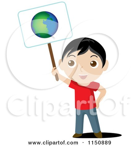 Cartoon of a Boy Holding up an Ecology Planet Earth Sign - Royalty Free Vector Clipart by Rosie Piter