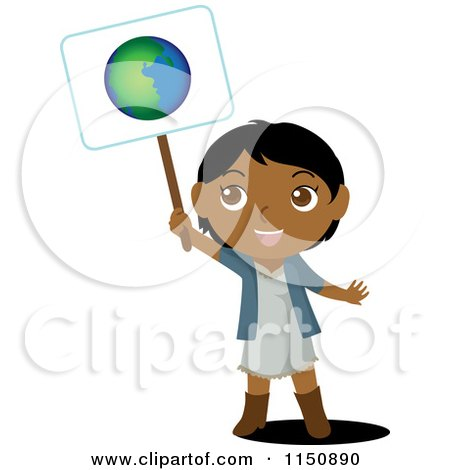 Cartoon of a Black or Indian Girl Holding up an Ecology Planet Earth Sign - Royalty Free Vector Clipart by Rosie Piter