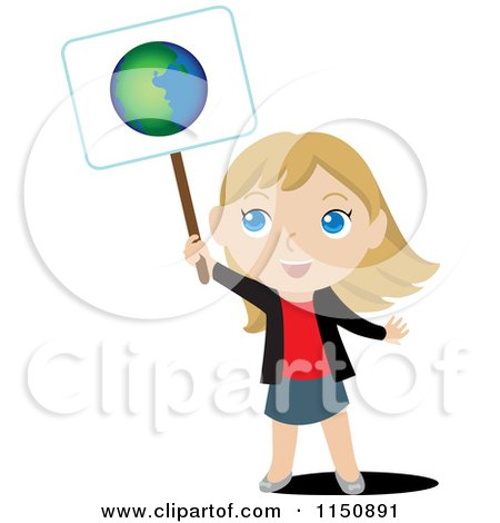 Cartoon of a Blond Girl Holding up an Ecology Planet Earth Sign - Royalty Free Vector Clipart by Rosie Piter