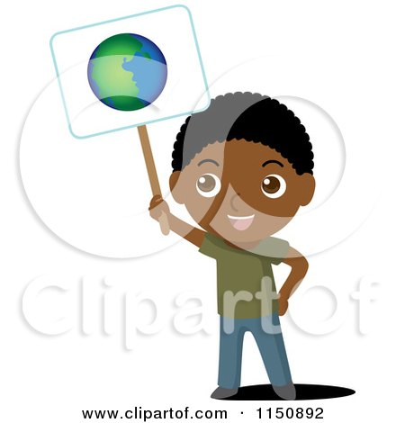 Cartoon of a Black Boy Holding up an Ecology Planet Earth Sign - Royalty Free Vector Clipart by Rosie Piter