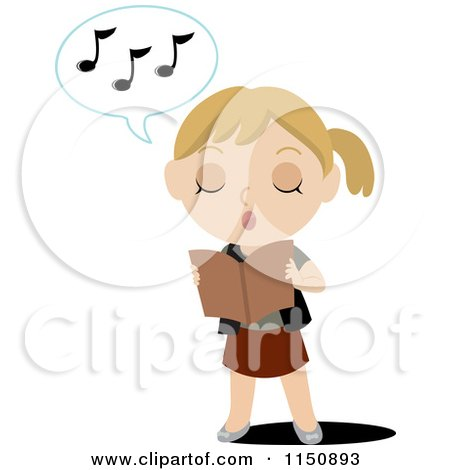 Cartoon of a Blond Girl Holding a Book and Singing - Royalty Free Vector Clipart by Rosie Piter