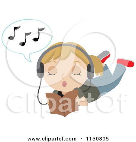 Cartoon of a Blond Girl Reading Wearing Headphones and Singing - Royalty Free Vector Clipart by Rosie Piter