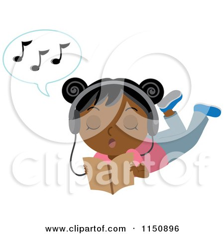 Cartoon of a Black or Indian Girl Reading Wearing Headphones and Singing - Royalty Free Vector Clipart by Rosie Piter