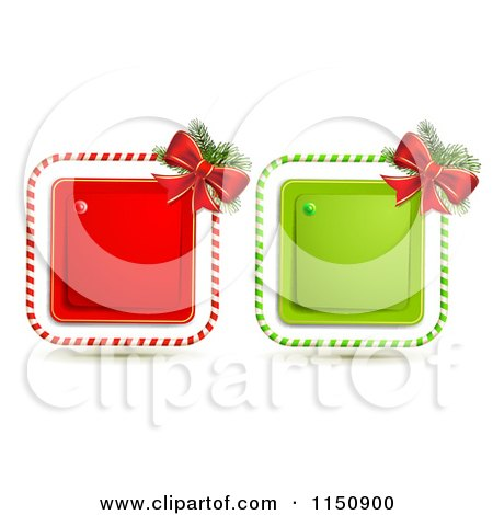 Clipart of a Candy Cane Christmas Bow and Square Icons - Royalty Free Vector Clipart by merlinul