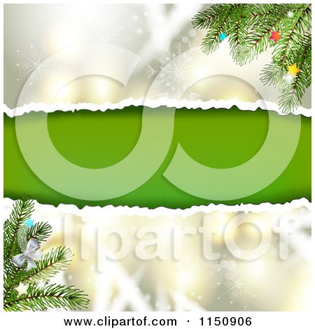 Clipart of a Snowflake Christmas Background with Torn Paper Copyspace and Branches - Royalty Free Vector Clipart by merlinul