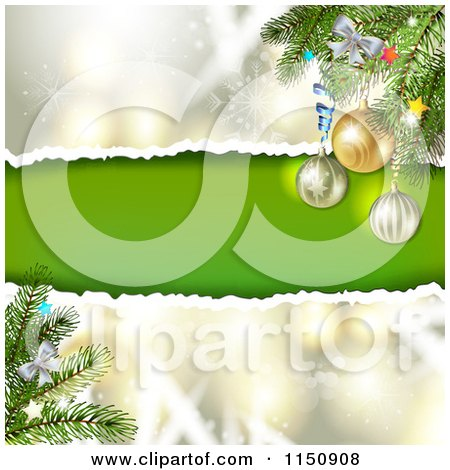 Clipart of a Snowflake Christmas Background with Torn Paper Copyspace and Bauble Branches - Royalty Free Vector Clipart by merlinul