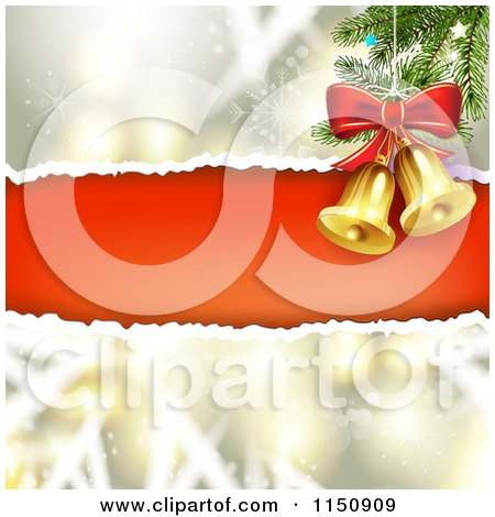 Clipart of a Snowflake Christmas Background with Torn Red Paper Copyspace and Bells - Royalty Free Vector Clipart by merlinul