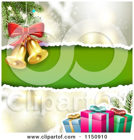 Clipart of a Snowflake Christmas Background with Torn Green Paper Copyspace Gifts and Bells - Royalty Free Vector Clipart by merlinul