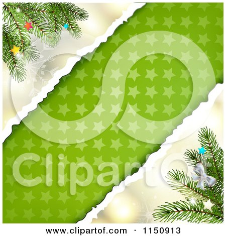 Clipart of a Snowflake Christmas Background with Torn Star Paper Copyspace and Branches - Royalty Free Vector Clipart by merlinul