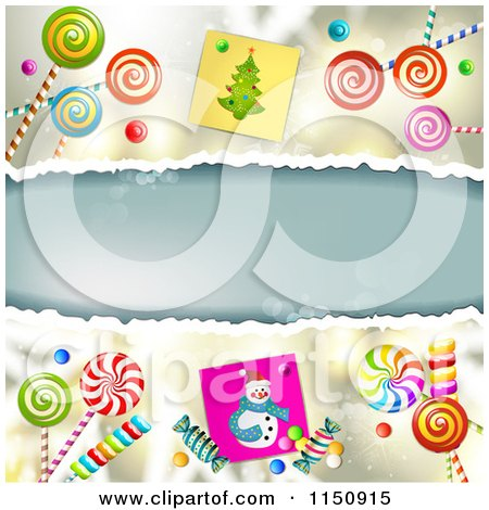 Clipart of a Christmas Background with Torn Paper Copyspace Snowmen and Lollipops - Royalty Free Vector Clipart by merlinul