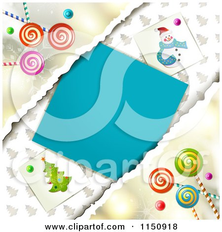 Clipart of a Christmas Background with Torn Paper Copyspace and Lollipops - Royalty Free Vector Clipart by merlinul