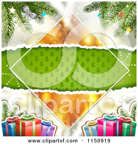 Clipart of a Christmas Background with Torn Green Tree Paper Copyspace Gifts and Branches - Royalty Free Vector Clipart by merlinul