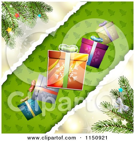 Clipart of a Christmas Background with Torn Paper Branches and Gifts - Royalty Free Vector Clipart by merlinul