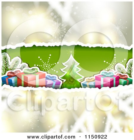 Clipart of a Christmas Background with Torn Paper Tree and Gifts - Royalty Free Vector Clipart by merlinul