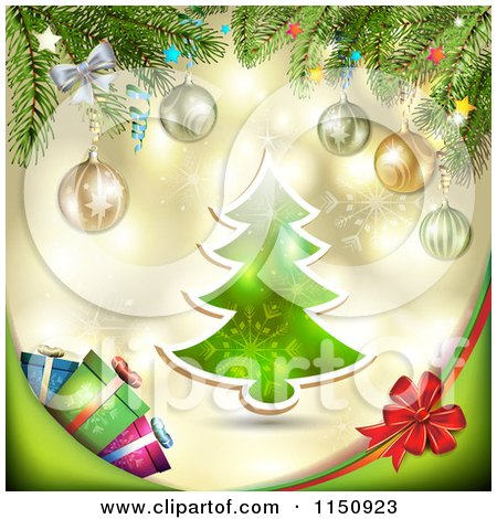 Clipart of a Christmas Background with a Tree Branches and Gifts - Royalty Free Vector Clipart by merlinul
