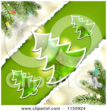 Clipart of a Torn Paper Christmas Background with Trees - Royalty Free Vector Clipart by merlinul