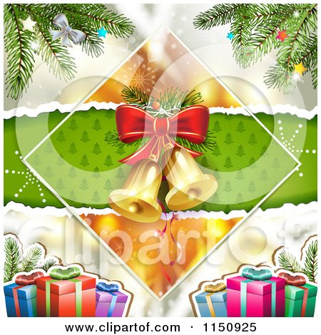 Clipart of a Christmas Background of Bells in a Diamond with Gifts and a Tree - Royalty Free Vector Clipart by merlinul