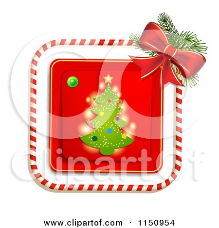 Clipart of a Candy Cane Border Around a Christmas Tree - Royalty Free Vector Clipart by merlinul