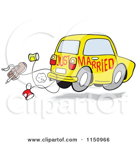 Cartoon of a Yellow Just Married Car with Cans and a Shoe - Royalty Free Vector Clipart by Johnny Sajem