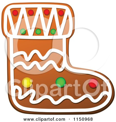 Clipart of a Christmas Stocking Gingerbread Cookie - Royalty Free Vector Clipart by Vector Tradition SM