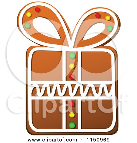 Clipart of a Christmas Gift Gingerbread Cookie - Royalty Free Vector Clipart by Vector Tradition SM