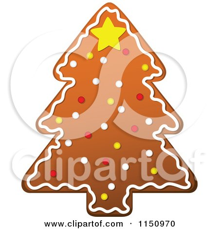 Clipart of a Christmas Tree Gingerbread Cookie - Royalty Free Vector Clipart by Vector Tradition SM