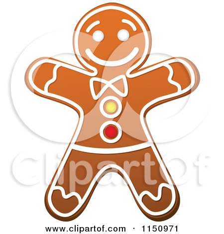 Clipart of a Christmas Gingerbread Man Cookie - Royalty Free Vector Clipart by Vector Tradition SM