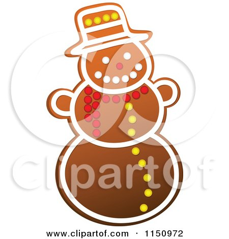 Clipart of a Christmas Snowman Gingerbread Cookie - Royalty Free Vector Clipart by Vector Tradition SM