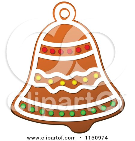 Clipart of a Christmas Bell Gingerbread Cookie - Royalty Free Vector Clipart by Vector Tradition SM