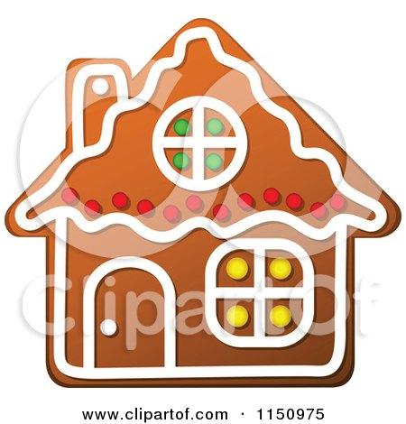 Clipart of a Christmas Gingerbread House Cookie - Royalty Free Vector Clipart by Vector Tradition SM