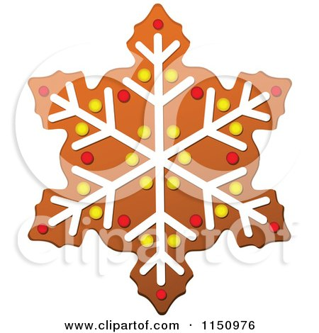 Clipart of a Christmas Snowflake Gingerbread Cookie - Royalty Free Vector Clipart by Vector Tradition SM