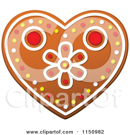 Clipart of a Christmas Heart Gingerbread Cookie - Royalty Free Vector Clipart by Vector Tradition SM