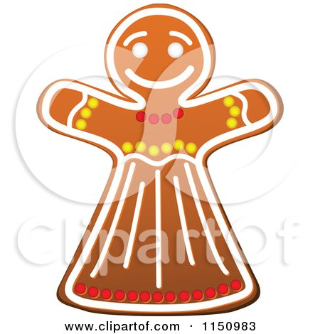 Clipart of a Christmas Gingerbread Woman Cookie - Royalty Free Vector Clipart by Vector Tradition SM