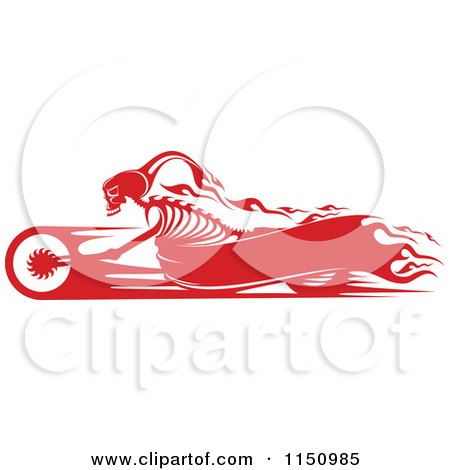 Clipart of a Red Flaming Skeleton Biker on a Motorcycle with Copyspace - Royalty Free Vector Clipart by Vector Tradition SM