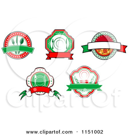 Clipart of Restaurant Cafe Diner and Pizzeria Logos - Royalty Free Vector Clipart by Vector Tradition SM