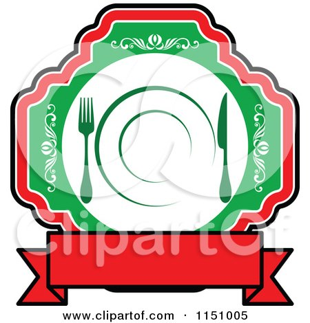 Clipart of a Red and Green Restaurant Cafe or Diner Logo 2 - Royalty Free Vector Clipart by Vector Tradition SM