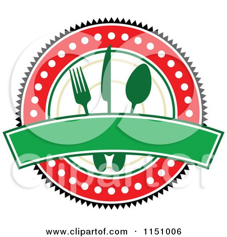 Clipart of a Red and Green Restaurant Cafe or Diner Logo - Royalty Free Vector Clipart by Vector Tradition SM