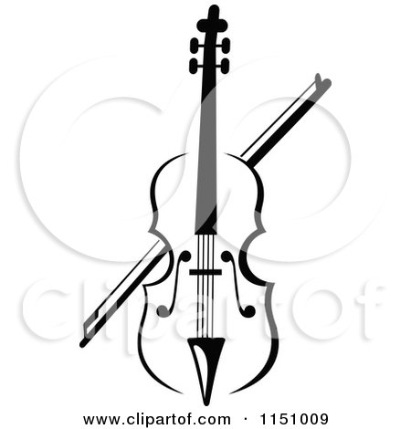 Clipart of a Black and White Viola or Fiddle Violin 2 - Royalty Free Vector Clipart by Vector Tradition SM