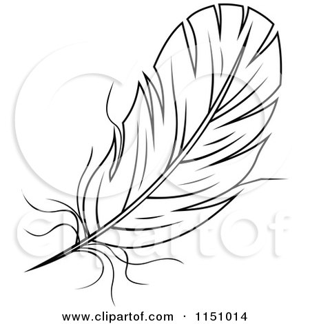 Clipart Of A Black And White Feather 1 Royalty Free