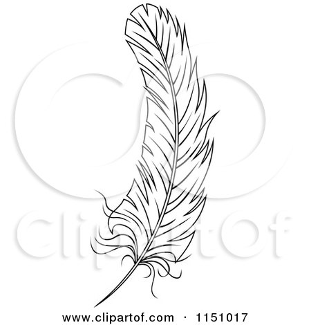 Clipart of a Black and White Feather 4 - Royalty Free Vector Clipart by Vector Tradition SM