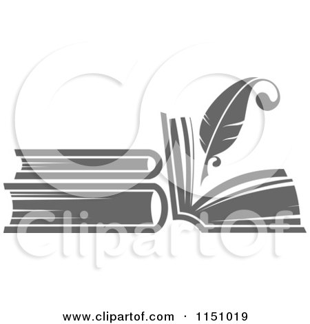 Clipart of a Grayscale Feather Quill Pen and Books - Royalty Free Vector Clipart by Vector Tradition SM