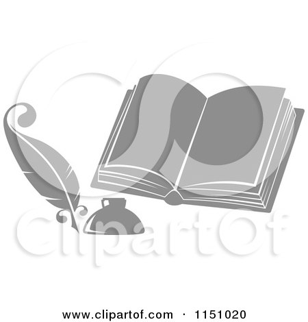 Clipart of a Grayscale Feather Quill Pen Ink Well and Open Book - Royalty Free Vector Clipart by Vector Tradition SM