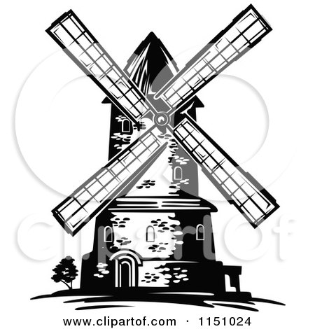 Black and White Windmill 2 Posters, Art Prints
