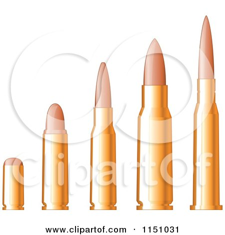 Clipart of a Line up of Gold Bullets - Royalty Free Vector Clipart by Vector Tradition SM