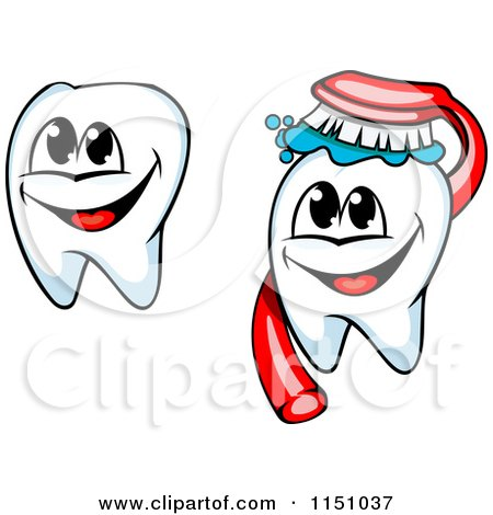 Clipart of Happy Tooth Mascots and Brush - Royalty Free Vector Clipart by Vector Tradition SM