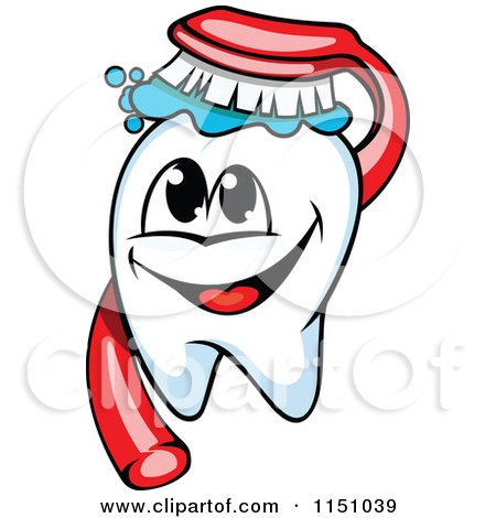 Clipart of a Happy Tooth Mascot and Brush - Royalty Free Vector Clipart by Vector Tradition SM